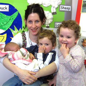 A baby with hearing loss and their family - The Elizabeth Foundation for deaf children - Lets Listen and Talk baby programme